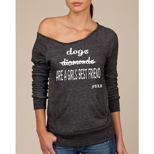 FTLA Apparel Eco-Fleece Off the Shoulder Sweatshirt – Dogs Are A Girls Best Friend-Off The Shoulder Sweatshirt-FTLA Apparel-S-Eco-Black-For The Love of Animals Apparel