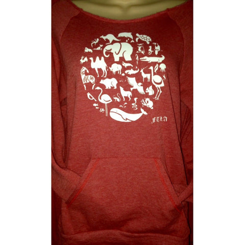 FTLA Apparel ~ For The Love of Animals Apparel:  Off The Shoulder Sweatshirt - Eco Fleece Tri-Red Off the Shoulder Sweatshirt - CoExist | End Captivity
