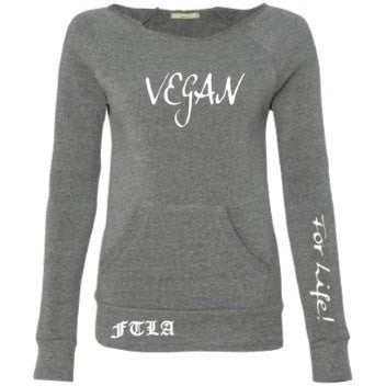 FTLA Apparel Eco-Friendly Eco Fleece Off the Shoulder Sweatshirt – Vegan For Life!-Off The Shoulder Sweatshirt-FTLA Apparel-Small-Eco Grey-For The Love of Animals Apparel