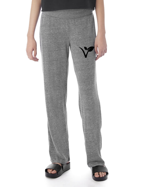 "FTLA Apparel ~ For The Love of Animals Apparel:  Bottoms - Eco Grey Eco Jersey Fold Over Waist Lounge Pants - ""V"" Leaf"