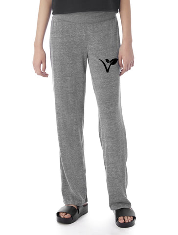 "FTLA Apparel Eco Grey Eco Jersey Fold Over Waist Lounge Pants - ""V"" Leaf-Bottoms-FTLA Apparel-S-Eco Grey-For The Love of Animals Apparel"