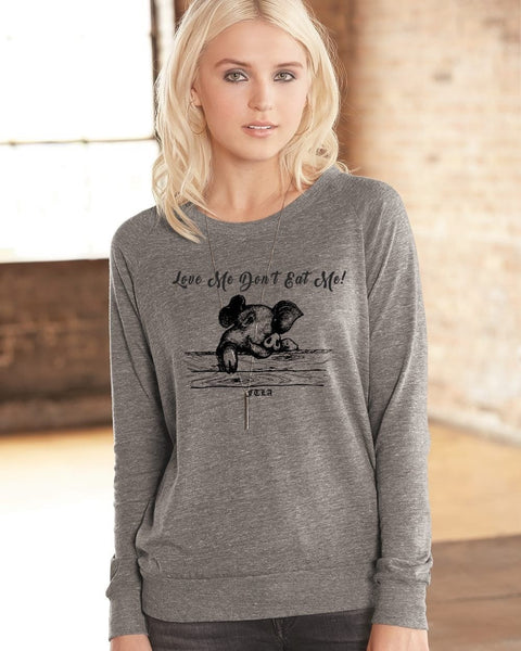 FTLA Apparel Eco Grey Off The Shoulder/Wide Neck Eco-Jersey Slouchy Pullover - Love Me Don't Eat Me!-Off The Shoulder Pullover-FTLA Apparel-S-Eco Grey-For The Love of Animals Apparel