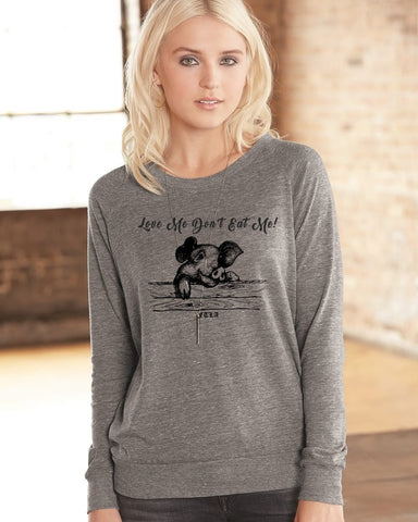FTLA Apparel ~ For The Love of Animals Apparel:  Off The Shoulder Pullover - Eco Grey Off The Shoulder/Wide Neck Eco-Jersey Slouchy Pullover - Love Me Don't Eat Me!