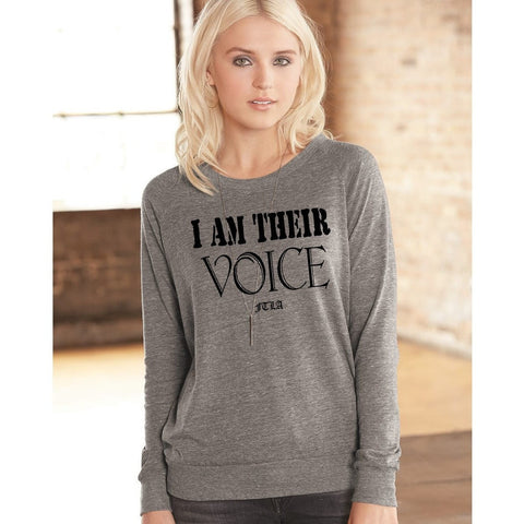 FTLA Apparel ~ For The Love of Animals Apparel:  Off The Shoulder Pullover - Eco Grey Wide Neck/Off The Shoulder Eco-Jersey Slouchy Pullover - I AM THEIR VOICE