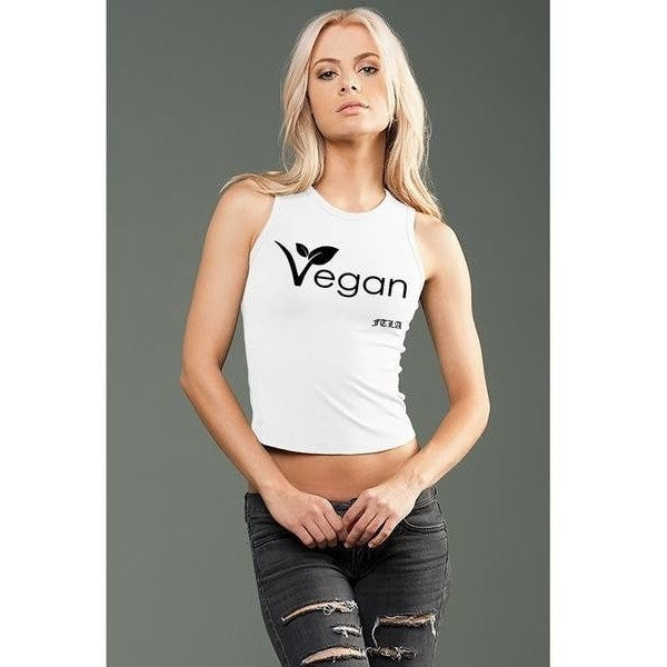 FTLA Apparel - eco-HYBRID™ Jersey Fitted + Cropped Muscle Tank - New Vegan Leaf-Crop Top-For The Love of Animals Apparel