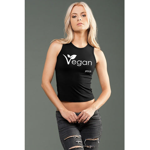 FTLA Apparel ~ For The Love of Animals Apparel:  Crop Top - eco-HYBRID™ Jersey Fitted + Cropped Muscle Tank - New Vegan Leaf