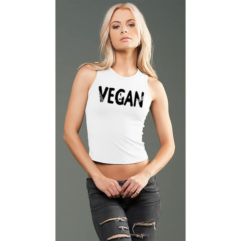 FTLA Apparel eco-HYBRID™ Jersey Fitted + Cropped Muscle Tank - Vegan Sprout-Crop Top-FTLA Apparel-Small-White-For The Love of Animals Apparel