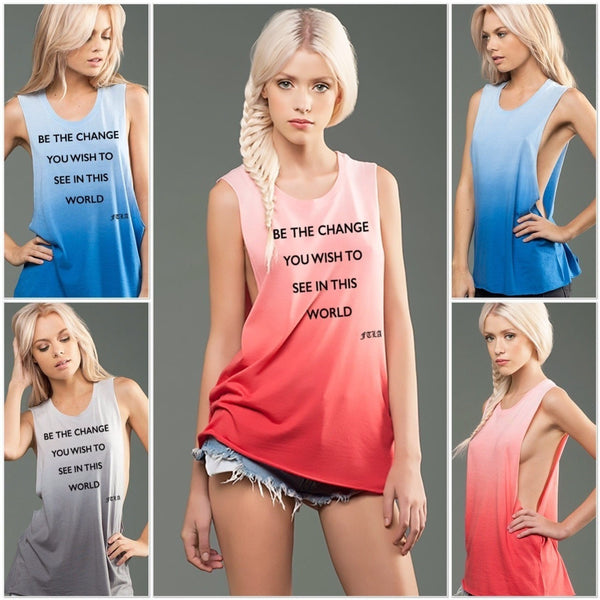 FTLA Apparel - eco-HYBRID™ Micro Jersey Deep Side Cut Ombre Dye Muscle Tank - Be The Change - Muscle Tank
