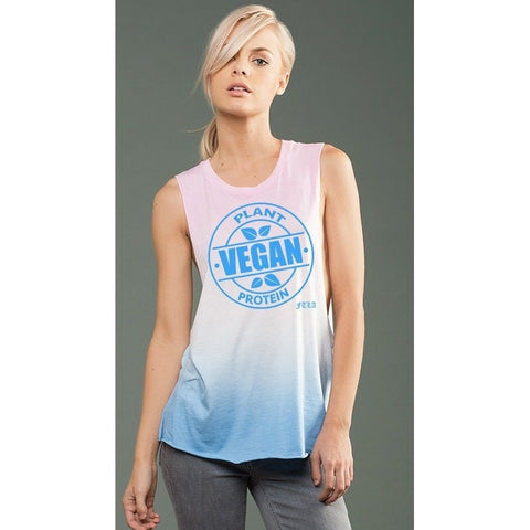 FTLA Apparel ~ For The Love of Animals Apparel:  Muscle Tank - eco-HYBRID™ Micro Jersey Deep Side Cut Pink & Blue Ombre Dye Muscle Tank - Vegan Plant Protein