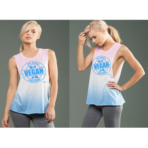 FTLA Apparel eco-HYBRID™ Micro Jersey Deep Side Cut Pink & Blue Ombre Dye Muscle Tank - Vegan Plant Protein-Muscle Tank-FTLA Apparel-Small-For The Love of Animals Apparel