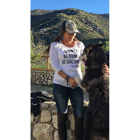 FTLA Apparel ~ For The Love of Animals Apparel:  Long Sleeve - eco-HYBRID™ Micro Jersey Long Sleeve Tee - Don't Be Sorry, Do Something! - The Animals