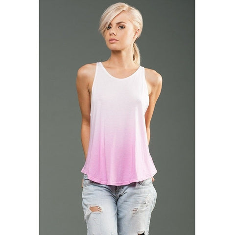FTLA Apparel eco-HYBRID™ Micro Jersey Ombre Dye High Neck Tank - Blank or Choose from My designs-Women's Muscle Tank-FTLA Apparel-Small-Hot Pink-For The Love of Animals Apparel