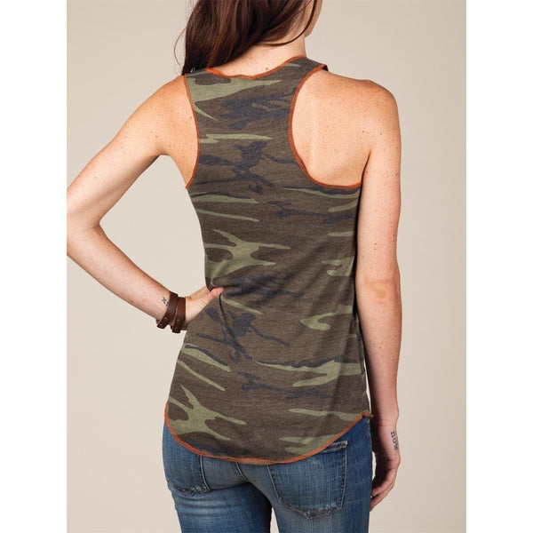 FTLA Apparel - Eco Jersey Camo Racerback Tank Top - Hounds and Heroes-Tank Top-For The Love of Animals Apparel