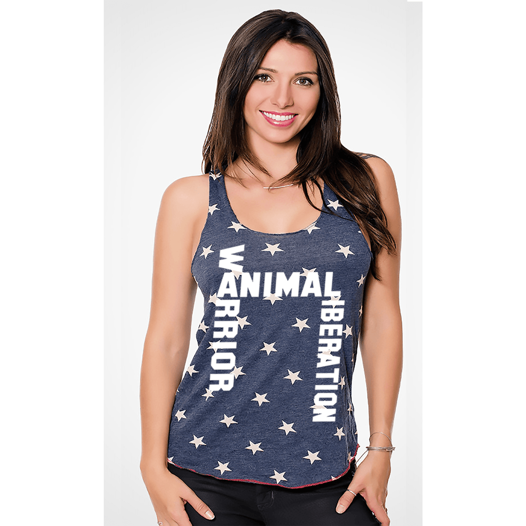 FTLA Apparel - Eco Jersey Stars Racerback Tank Top - Animal Liberation Warrior-Tank Top-For The Love of Animals Apparel