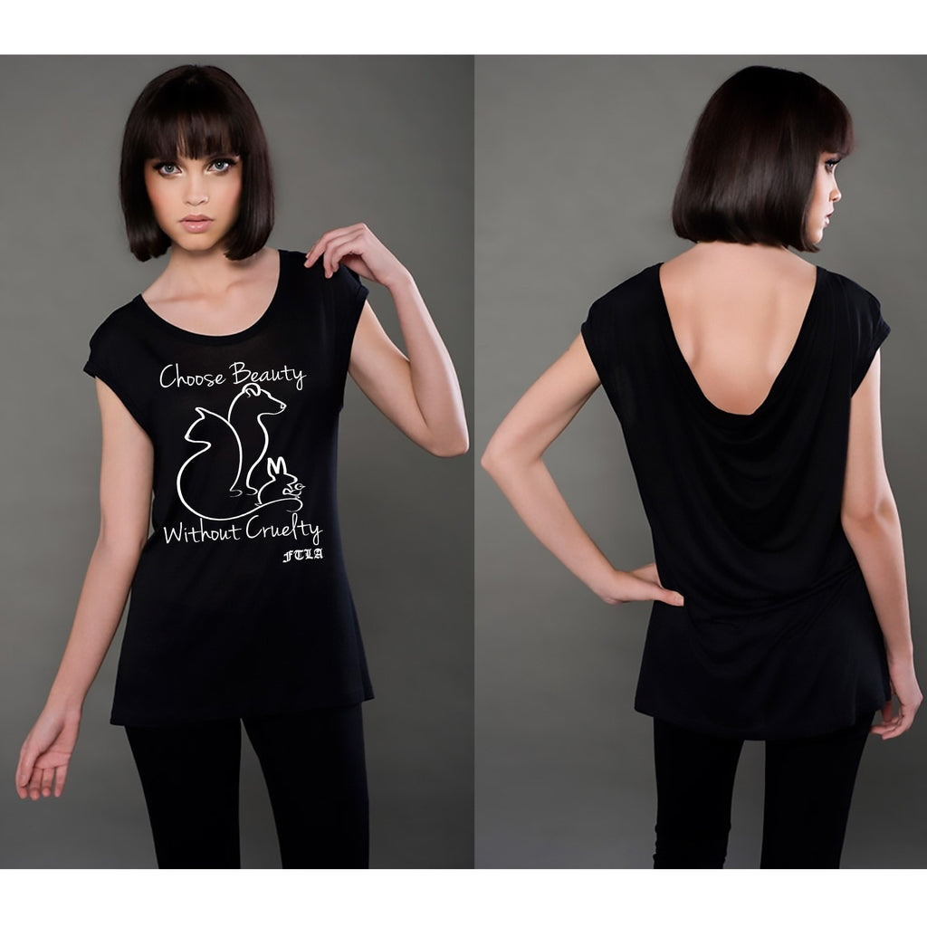 FTLA Apparel - Eco MicroModal® Fine Jersey Cap Sleeve Drop Back Tee - Choose Beauty Without Cruelty - Drop Back