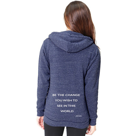 FTLA Apparel Eco Navy Denim Unisex Eco-Fleece Full-Zip Hoodie – Be The Change You Wish To See in This World-Unisex Sweatshirts-FTLA Apparel-XS-Denim Navy-Bottom of Back-For The Love of Animals Apparel