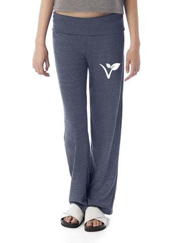 "FTLA Apparel Eco Navy Eco Jersey Fold Over Waist Lounge Pants - ""V"" Leaf-Bottoms-FTLA Apparel-S-Eco-Navy-For The Love of Animals Apparel"