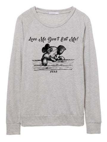 FTLA Apparel Eco Oatmeal Eco-Jersey Slouchy Pullover - Love Me Don't Eat Me!-Off The Shoulder Pullover-FTLA Apparel-S-Eco Oatmeal-For The Love of Animals Apparel