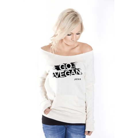 FTLA Apparel ~ For The Love of Animals Apparel:  Off The Shoulder Sweatshirt - Eco Wheat Off the Shoulder Eco Fleece Sweatshirt - GO VEGAN