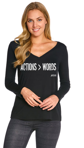 "FTLA Apparel - FTLA Apparel ""Actions > Words"" Black Long Sleeve V-Neck - SM-2XL-Long Sleeve-For The Love of Animals Apparel"