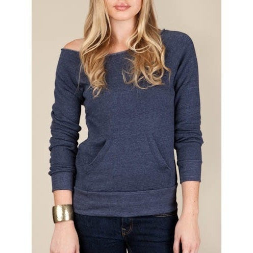 FTLA Apparel - FTLA Apparel Ahimsa Eco-Fleece Off the Shoulder Sweatshirt-Off The Shoulder Sweatshirt-For The Love of Animals Apparel