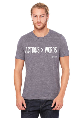 FTLA Apparel ~ For The Love of Animals Apparel:  Unisex T-Shirt - FTLA Apparel Asphalt Slub - Actions > Words Unisex Jersey Tee