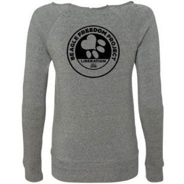 FTLA Apparel - FTLA Apparel Beagle Freedom Project - From Labs to Laps FREAGLES! - Eco Grey Off The Shoulder Eco-Fleece Sweatshirt-Off The Shoulder Sweatshirt-For The Love of Animals Apparel