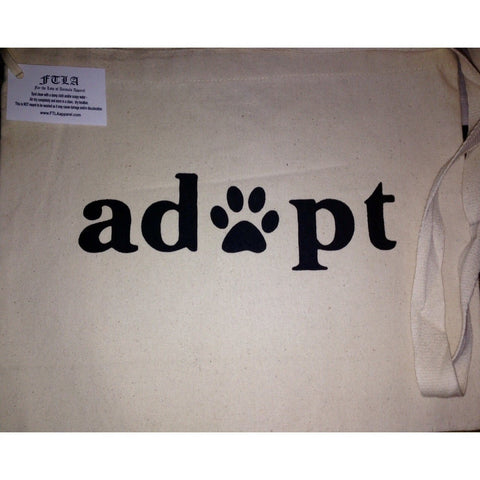 FTLA Apparel ~ For The Love of Animals Apparel:  Tote Bag - FTLA Apparel Cotton Canvas Small Messenger Tote Bag Adopt | Adopt Don't Shop