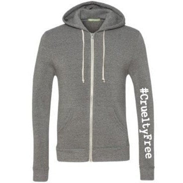 FTLA Apparel ~ For The Love of Animals Apparel:  Unisex Sweatshirts - FTLA Apparel #CrueltyFree - Eco Grey Unisex Zip up Hoodie Sweatshirt