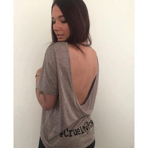 FTLA Apparel FTLA Apparel Dirty Heather #CrueltyFree Female Burnout Open Back Top-Open Back Tee-FTLA Apparel-SM-Dirty Heather-For The Love of Animals Apparel