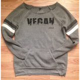 FTLA Apparel FTLA Apparel Eco Grey Sport Off The Shoulder Eco Fleece Sweatshirt - Grassy Vegan-Off The Shoulder Sweatshirt-FTLA Apparel-For The Love of Animals Apparel