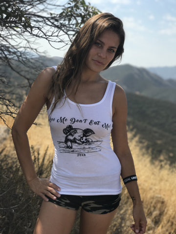 FTLA Apparel FTLA Apparel eco-HYBRID® Women's Fine Jersey Tank - Love Me Don't Eat Me!-Tank Top-FTLA Apparel-Small-Black-White-For The Love of Animals Apparel