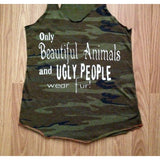 FTLA Apparel FTLA Apparel - Eco Jersey Camo Racerback Tank Top - Only Beautiful Animals and Ugly People Wear Fur!-Tank Top-FTLA Apparel-Small-For The Love of Animals Apparel