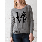 FTLA Apparel FTLA Apparel Eco Jersey Off The Shoulder Pullover LOVE-Off The Shoulder Pullover-FTLA Apparel-Small-Eco Grey-For The Love of Animals Apparel