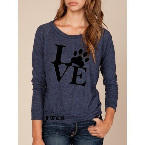 FTLA Apparel ~ For The Love of Animals Apparel:  Off The Shoulder Pullover - FTLA Apparel  Eco Jersey Off The Shoulder Pullover LOVE