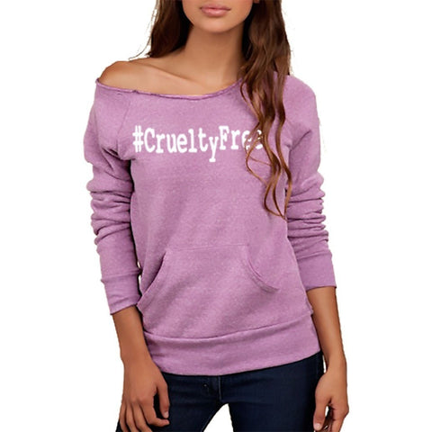 FTLA Apparel FTLA Apparel Eco Tri-Purple Off the Shoulder Eco Fleece Sweatshirt - #CrueltyFree-Off The Shoulder Sweatshirt-FTLA Apparel-SM-White-For The Love of Animals Apparel