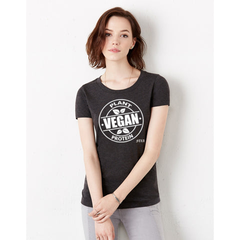 FTLA Apparel FTLA Apparel - Female Triblend Jersey Tee - Vegan Plant Protein-T-Shirts-FTLA Apparel-Small-Charcoal Black-For The Love of Animals Apparel