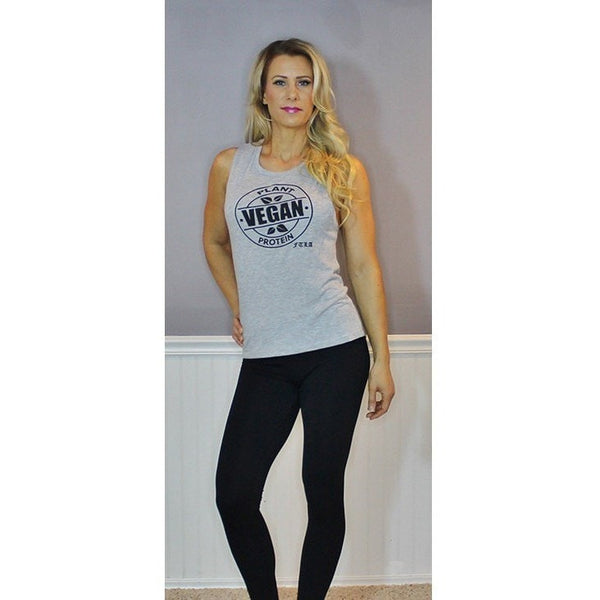 FTLA Apparel FTLA Apparel Flowy Scoop Muscle Tank Top - Vegan Plant Protein | SM-2XL-Muscle Tank-FTLA Apparel-S-Athletic Grey-For The Love of Animals Apparel