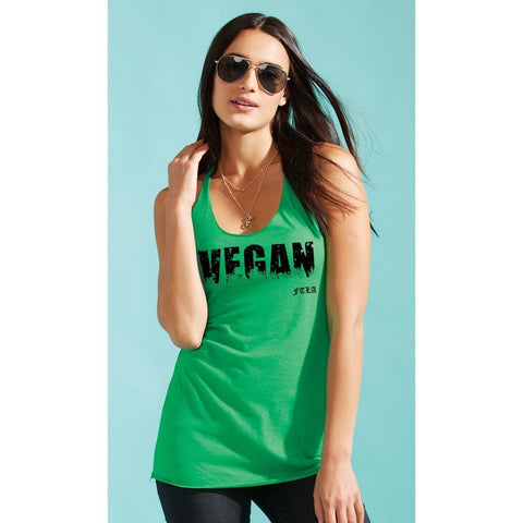 FTLA Apparel ~ For The Love of Animals Apparel:  Tank Top - FTLA Apparel - GRASSY VEGAN Triblend Racerback Tank Top in Envy Green
