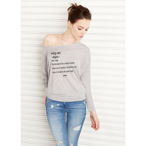 "FTLA Apparel ~ For The Love of Animals Apparel:  Off The Shoulder Pullover - FTLA Apparel Heather Grey Off The Shoulder Flowy Pullover ""Vegan by Definition"" 