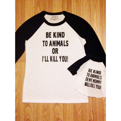 FTLA Apparel - FTLA Apparel Matching Dog Mom and Doggy Unisex Eco-Jersey Baseball Tee's - Be Kind To Animals - Unisex BaseBall Tee