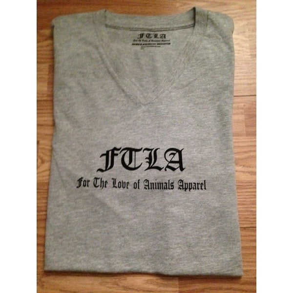 FTLA Apparel ~ For The Love of Animals Apparel:  Unisex T-Shirt - FTLA Apparel Men's/Unisex Athletic Grey V-Neck Jersey Short Sleeve Tee -  Signature FTLA Apparel Logo