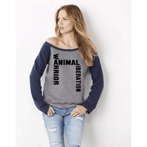 FTLA Apparel FTLA Apparel Off the Shoulder Contrast Sleeve Triblend Fleece Sweatshirt – Animal Liberation Warrior-Off The Shoulder Sweatshirt-FTLA Apparel-Small-Heather Grey/Navy Sleeves-For The Love of Animals Apparel