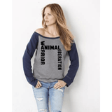 FTLA Apparel FTLA Apparel Off the Shoulder Contrast Sleeve Triblend Fleece Sweatshirt – Animal Liberation Warrior SM - 2XL-Off The Shoulder Sweatshirt-FTLA Apparel-Small-Grey With Navy Sleeves-For The Love of Animals Apparel