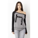 FTLA Apparel ~ For The Love of Animals Apparel:  Off The Shoulder Sweatshirt - FTLA Apparel Off the Shoulder Contrast Sleeve Triblend Fleece Sweatshirt – Animal Liberation Warrior SM - 2XL