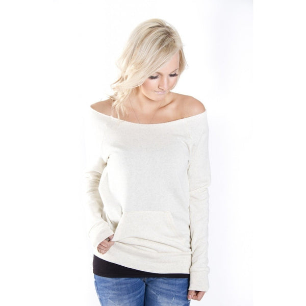 FTLA Apparel - FTLA Apparel Off the Shoulder Eco Fleece Sweatshirt - Adopt - Off The Shoulder Sweatshirt