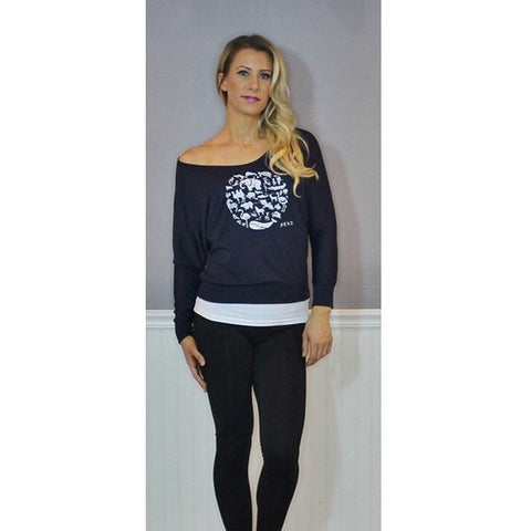 FTLA Apparel FTLA Apparel Off The Shoulder Flowy Pullover - Co-Exist XS-2XL-Off The Shoulder Pullover-FTLA Apparel-XS-Navy-For The Love of Animals Apparel