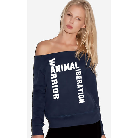 FTLA Apparel ~ For The Love of Animals Apparel:  Off The Shoulder Sweatshirt - FTLA Apparel Off the Shoulder Navy Triblend Fleece Sweatshirt – Animal Liberation Warrior SM - 2XL