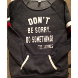 FTLA Apparel FTLA Apparel Off the Shoulder Striped Sleeve Sweatshirt – Don't Be Sorry, Do Something! - The Animals-Off The Shoulder Sweatshirt-FTLA Apparel-For The Love of Animals Apparel