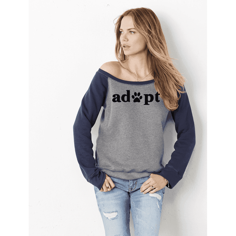 FTLA Apparel ~ For The Love of Animals Apparel:  Off The Shoulder Sweatshirt - FTLA Apparel Off the Shoulder Tri-blend Eco Fleece Sweatshirt –  Adopt